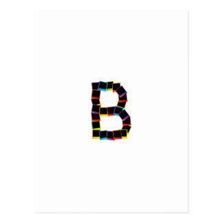 Alphabet B with colorful Postcard