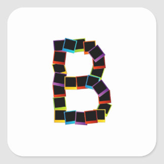 Alphabet B with colorful Square Sticker
