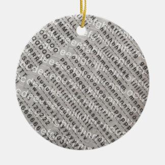 alphabet background ceramic ornament