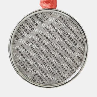 alphabet background metal ornament