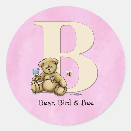 Alphabet Bear, Bird & Bee - pink Classic Round Sticker