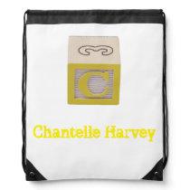 Alphabet Block custom labelled yellow C library Drawstring Bag