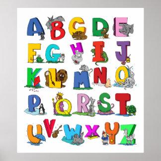 alphabet cartoon  poster FROM 14.95
