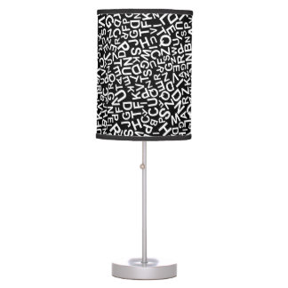 Alphabet Characters Font White Letters Pattern Table Lamp