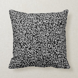 Alphabet Characters Font White Letters Pattern Throw Pillow