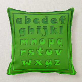 Alphabet Characters In Shades of Green Throw Pillow