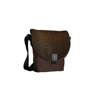 Alphabet Characters Letters Brown Fonts Pattern Messenger Bag