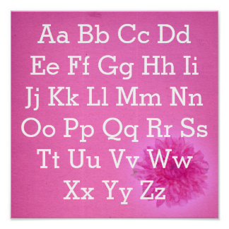Alphabet chart bright pink dahlia