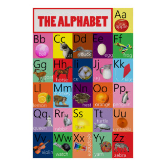 Alphabet Chart Colorful With Pictures for Children
