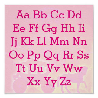 Alphabet chart fairytale horse and carriage poster