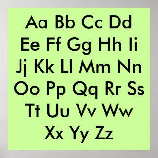Alphabet chart Pale Green