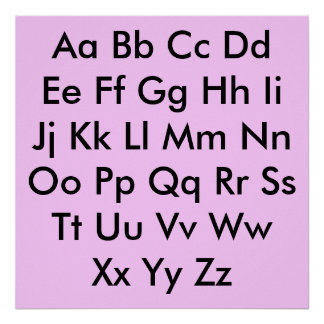 Alphabet chart Pale Pink