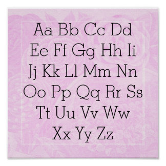 Alphabet chart Princess pink rose Poster