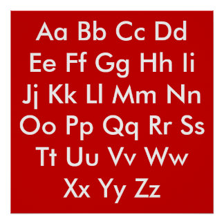 Alphabet chart Red and White Poster