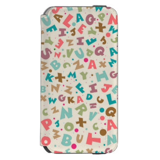 Alphabet Chunky Letters Pattern iPhone 6/6s Wallet Case