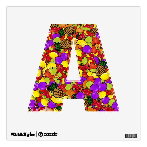 Alphabet Decal - Tooty Fruity Colorful Background Wall Sticker
