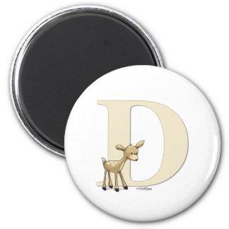 Alphabet Deer 2 Inch Round Magnet