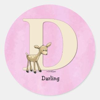 Alphabet Deer Classic Round Sticker