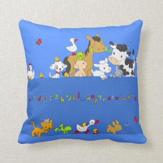 Alphabet Farm-Repeated Throw Pillow