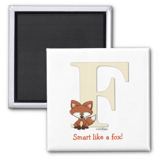 Alphabet Fox Gifts for baby 2 Inch Square Magnet