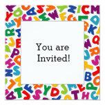 "Alphabet Frame 5.25"" Square Invitation Card"