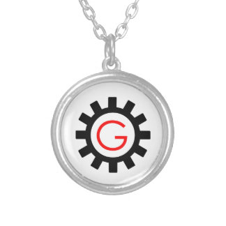 Alphabet G in gear Silver Plated Necklace