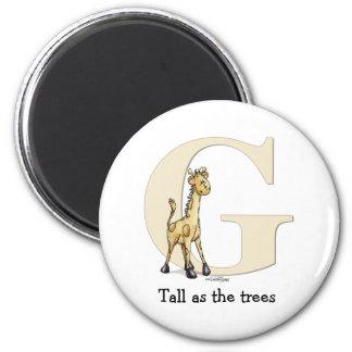 Alphabet Giraffe gifts 2 Inch Round Magnet