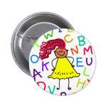 Alphabet Girl Button