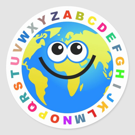 Alphabet Globe Classic Round Sticker