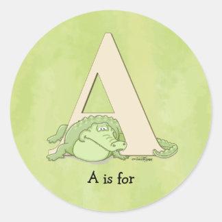 Alphabet - Green Alligator Sticker