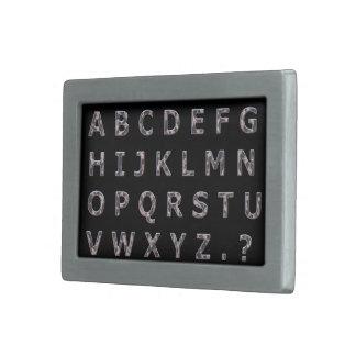 Alphabet Hammered Chrome Capitals Belt Buckle