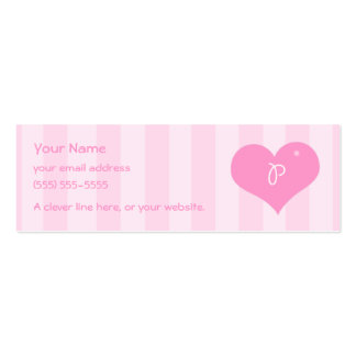 "Alphabet Hearts ""P"" Profile Cards Pink Business Card Templates"
