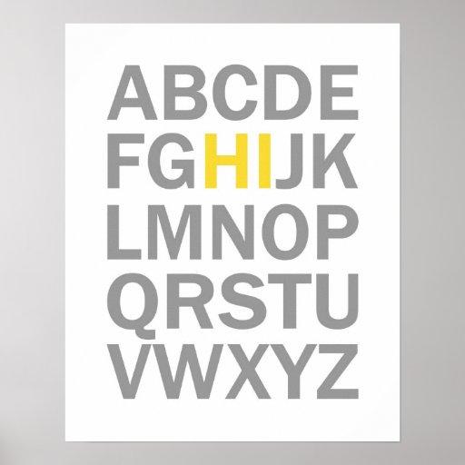 Alphabet HI print or poster