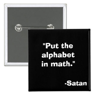 Alphabet in Math Satan Pinback Button