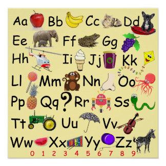 Alphabet Learn ABC's 123 Pre School Picture Chart