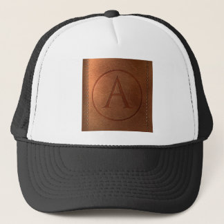 alphabet leather letter A Trucker Hat