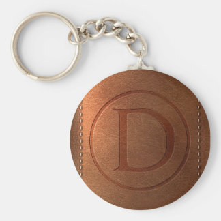 alphabet leather letter D Keychain