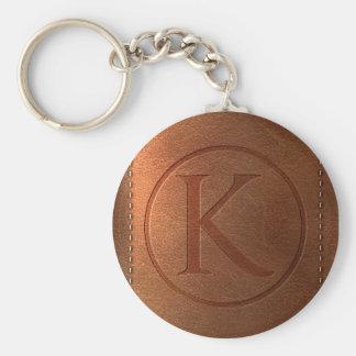 alphabet leather letter K Keychain