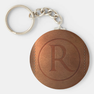 alphabet leather letter R Keychain
