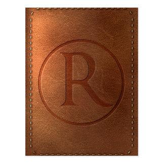 alphabet leather letter R Postcard