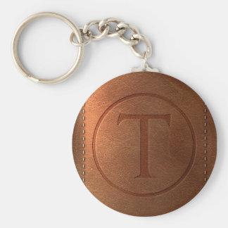 alphabet leather letter T Basic Round Button Keychain