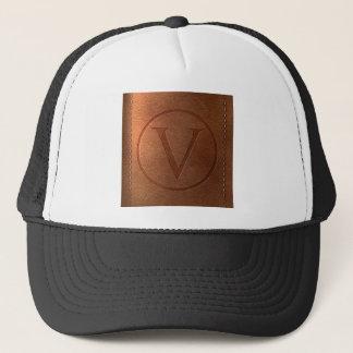 alphabet leather letter V Trucker Hat