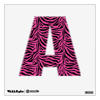Alphabet Letter A Initial - Pink Zebra Stripes Wall Sticker