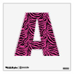 Alphabet Letter A Initial - Pink Zebra Stripes Room Graphics