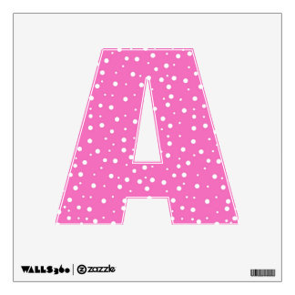 Alphabet Letter A Initial - Polka Dots on Pink Wall Decal