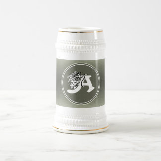 alphabet letter A monogram initial with angel in s Beer Stein