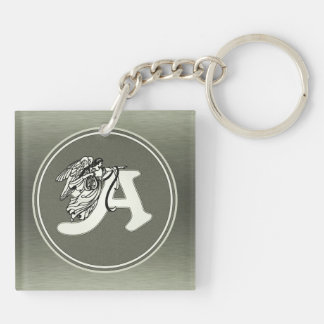 alphabet letter A monogram initial with angel in s Keychain