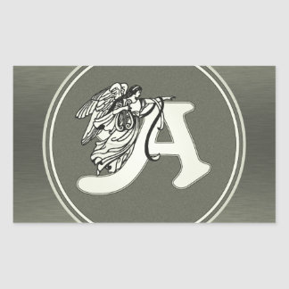 alphabet letter A monogram initial with angel in s Rectangular Sticker