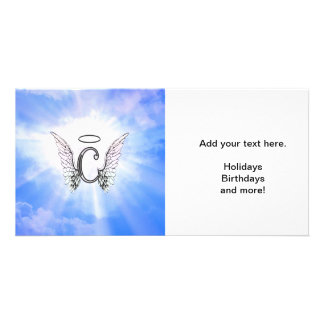 Alphabet letter c monogram with angels wings. card