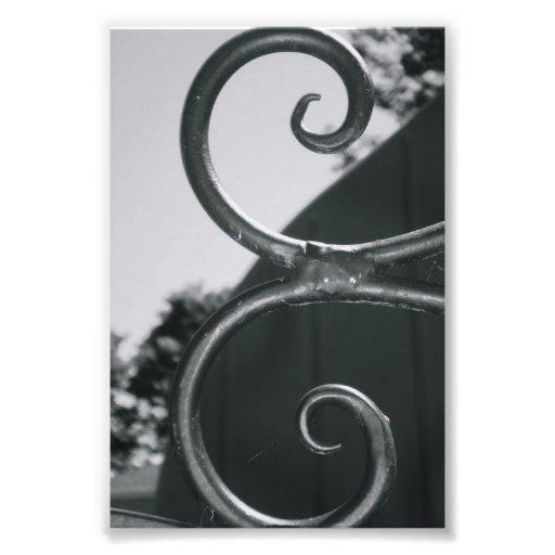 Alphabet Letter E (5) Black and White Photographic Print